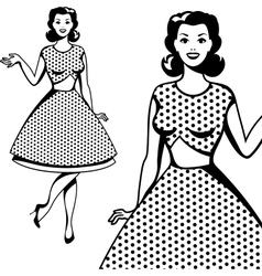 Beautiful retro girl in pop art style vector
