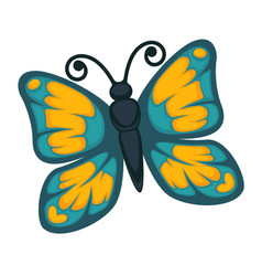 Blue butterfly with yellow ornament vector