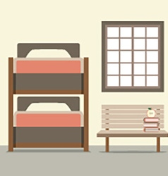 Bunk Bed With Wooden Chair vector image vector image