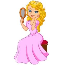 Cartoon beautiful princess holding glass vector