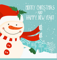 Cartoon for holiday theme with snowman on winter vector