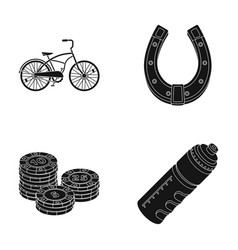 Casino racetrack and other web icon in black vector