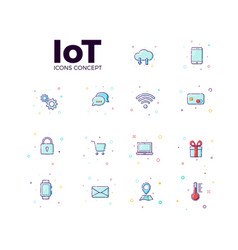 Concept internet of things icons icons of iot in vector