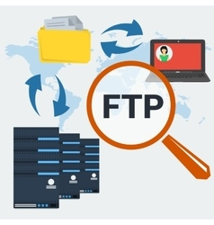 Concept server FTP connection vector image vector image