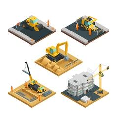 Construction isometric composition set vector
