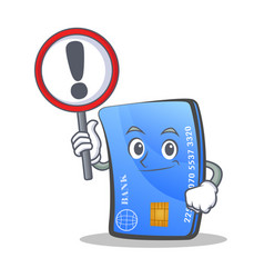 credit card character cartoon with sign vector image