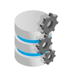 Database symbol and gears icon isometric 3d style vector