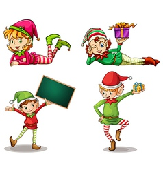 Dwarves wearing hats for christmas and an empty vector image