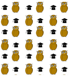 Education pattern woth owl and hat vector