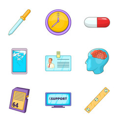 Entrepreneurship support icons set cartoon style vector