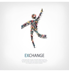 exchange people sign 3d vector image vector image