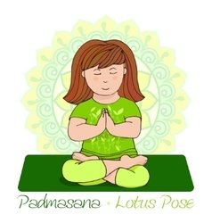 Girl in padmasana with mandala background vector