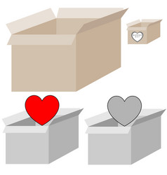 Grey and light brown present box with heart for vector