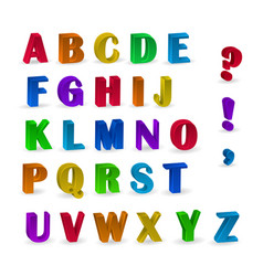 Multicolor 3d fonts available all letters vector