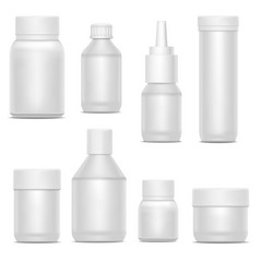 Realistic template blank white plastic bottle pack vector