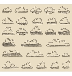 Retro clouds hand drawn sketch vector image vector image