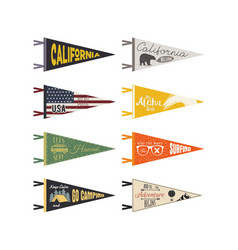 set of adventure pennants pennant explore vector image vector image