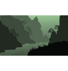 Silhouette of river between the cliffs vector