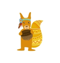 Squirrel Wearing Tribal Clothing vector image vector image