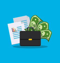 Suitcase with statistic documents and bills money vector