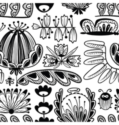 summer doodle seamless background with flowers vector image