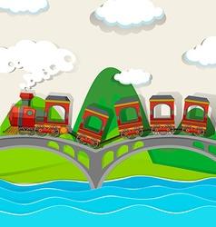 Train crossing over the bridge vector