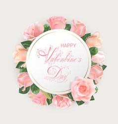 valentines day card with pink roses vector image