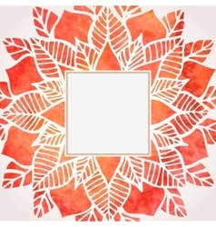Watercolor red frame with floral pattern vector