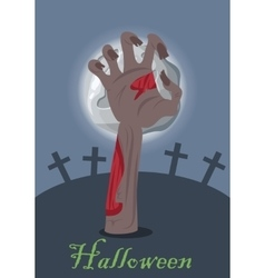 Zombie hand appears from grave with stone vector