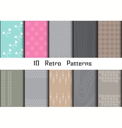 10 Retro different seamless patterns vector image