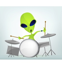 Cartoon alien drums vector
