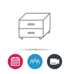 Nightstand icon bedroom furniture sign vector