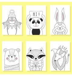 Funny animals cartoon children  Greeting card vector image