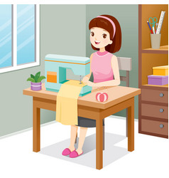 woman sewing clothes by sewing machine vector image