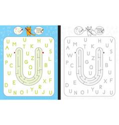 maze letter u vector image