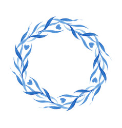 Indigo blue hand drawn wreath vector