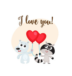I love you card with bear raccoon heart shaped vector