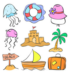 Set summer holiday of doodle style vector