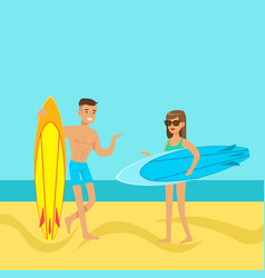 young couple walking on the beach with surfboards vector image