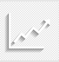Growing bars graphic sign  white icon with vector