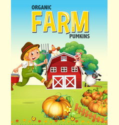 Farm poster design with farmer and animals vector