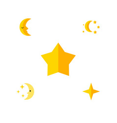 Flat icon bedtime set of bedtime starlet star vector