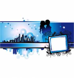 Cityscape urban frame couple silhouette vector