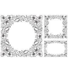Set of floral borders vector