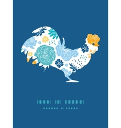 Blue and yellow flowersilhouettes rooster vector