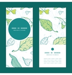 Lineart spring leaves vertical round frame vector