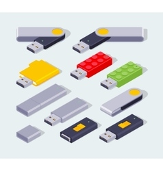 Isometric usb flash-drive vector