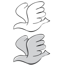 Set pigeon black outline and painted vector