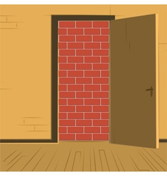 Brick wall open door vector