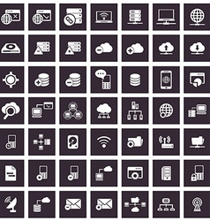 Data analytic and social network icons set vector